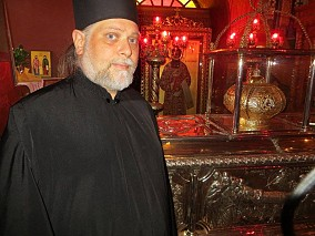 By the relics of St. Gregory Palamas, Thessalonica, Greece